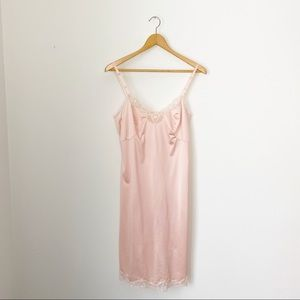 Vintage Peach with Lace Slip Nightgown Small